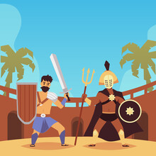 Armed Ancient Soldiers In Combat Poses On Arena Colosseum A Vector Illustration.