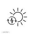 solar energy icon, charge power sun battery, sustainable eco resource, performance electric environment, thin line symbol on white background - editable stroke vector eps10