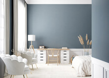 Contemporary Bedroom Interior In White And Blue Colors, 3d Render