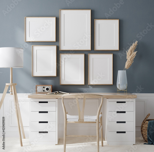 Cozy work place in home interior background with frame mockup, 3d render