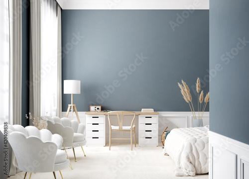Fototapeta Contemporary bedroom interior in white and blue colors, 3d render obraz