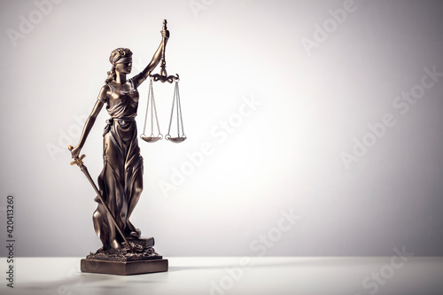 Canvas Print Legal and law concept statue of Lady Justice with scales of justice background