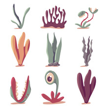 Prehistoric Plants Vector Cartoon Set Isolated On A White Background.