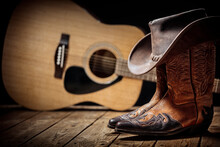Country Music Festival Live Concert With Acoustic Guitar, Cowboy Hat And Boots