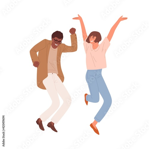 Obraz Happy people dancing and jumping, celebrating victory and success. Multiracial couple of colleagues having fun. Colored flat vector illustration of crazy office workers isolated on white background - fototapety do salonu