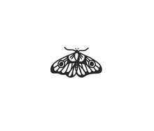 Hand Drawn Vector Abstract Stock Flat Graphic Illustration With Logo Element Of Line Art Of Magic Butterfly In Simple Style For Branding,isolated On White Background