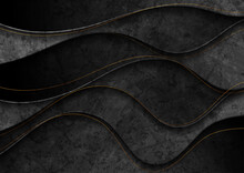 Black Grunge Corporate Abstract Wavy Background With Golden Lines. Vector Illustration