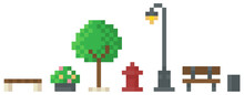 Pixel Art Game Scene With Trees, Bushes, Benches, Trash Can And Street Lamp On White Background