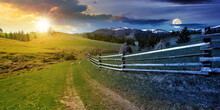 Day And Night Time Change Concept Above Rural Landscape In Spring. Path Through Grassy Field. Wooden Fence On Rolling Hills. Snow Capped Ridge In The Distance. Wonderful Countryside With Sun And Moon