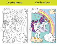 Cute Unicorn With Wings Flying In The Sky Coloring Vector And Template