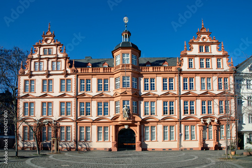 Fototapeta facade of historic house in Mainz, serving as museum nowadays obraz