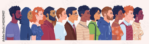 Canvastavla Profile portrait of men and women of different nationalities, religions and countries