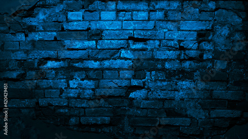 Dark blue old brick wall Fotobehang