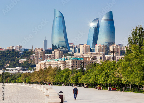 Baku boulevard, Caspian sea Fototapet