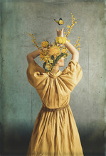The Body Of A Woman, Her Head Is A Yellow Flowers.Art Wallpaper Photo With Structure