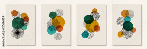 Fototapeta Creative minimalist hand painted Abstract art background with watercolor stain and Hand Drawn doodle Scribble Circle. Design for wall decoration, postcard, poster or brochure obraz
