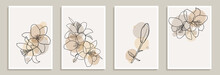 Set Of Creative Minimalist Hand Draw Illustrations Floral Outline Lily Pastel Biege Simple Shape For Wall Decoration, Postcard Or Brochure Cover Design