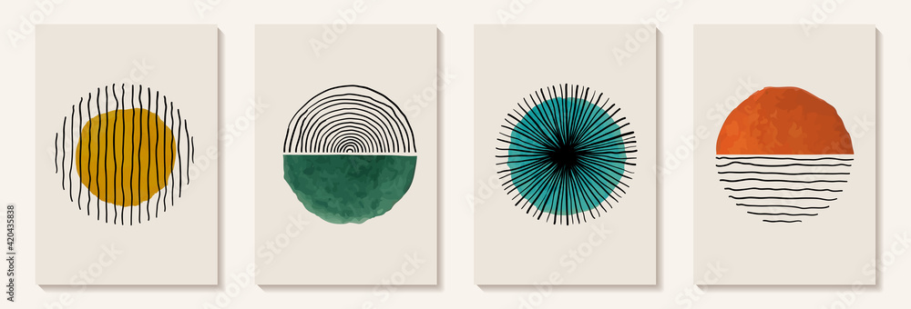 Fototapeta Creative minimalist hand painted Abstract art background with watercolor stain and Hand Drawn doodle Scribble Circle. Design for wall decoration, postcard, poster or brochure