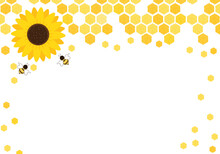 Honeycomb Beehive With Hexagon Grid Cells, Sunflower And Bee Cartoon On White Background Vector Illustration.