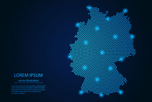 Abstract Image Germany Map From Point Blue And Glowing Stars On A Dark Background. Vector Illustration.