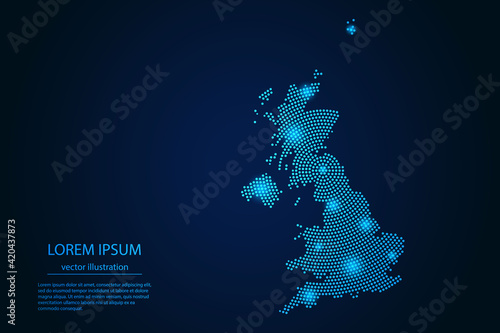 Fototapeta Abstract image United Kingdom map from point blue and glowing stars on a dark background. vector illustration. Vector eps 10. obraz