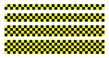 Black And Yellow Vector Check Stripe Set. Seamless Rcktangle Decorative Line Tape Illustration.