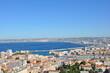 Old Vieux Port and Notre Dame de la Garde Basilica in Marseille's historic city center, France