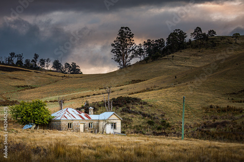 Beautiful view of an old farmhouse in Tasmania, Australia Wallpaper Mural
