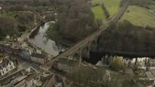 Drone Shot Of A Bridge Roman Viaduct In Knaresborough North Yorkshire