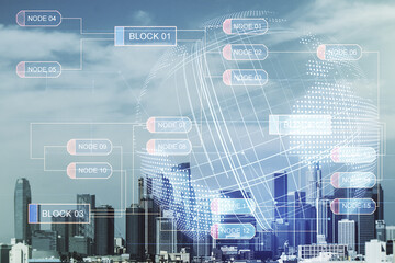 Abstract virtual coding concept and world map hologram on Los Angeles skyline background. Multiexposure