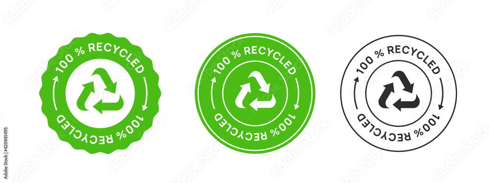 Fototapeta 100% Recycled Label Icon Sign. Biodegradable Sticker.