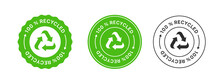 100% Recycled Label Icon Sign. Biodegradable Sticker.