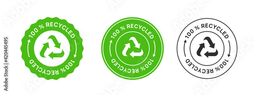Obraz 100% Recycled Label Icon Sign. Biodegradable Sticker. - fototapety do salonu