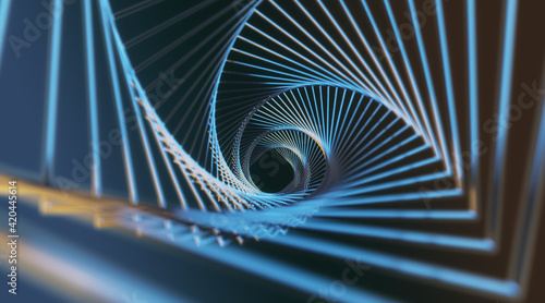 Fotografija Abstract modern backdrop with view from the top on steel spokes spiral