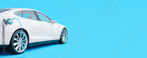 White electric car connected to charger on blue background 3D Rendering, 3D Illustration