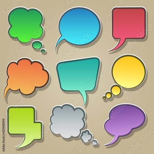 Colorful speech bubble icons set