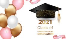 Graduation Greetings, Realistic Graduation Cap, Greeting Banner, Postcard, Concept, Graduation 2021, Gold Glitter, Vector