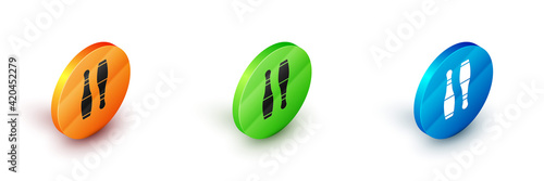 Isometric Bowling pin icon isolated on white background Wallpaper Mural