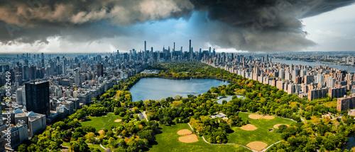 Central Park aerial view in Manhattan, New York.