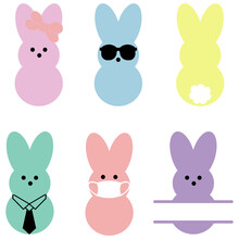 Set 6 Peeps And Monogram Of Easter Bunny,Marshmallow Bunnies.