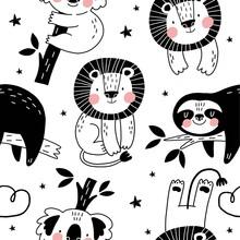 Cute Seamless Pattern With Sloth, Lion, Koala In Scandinavian Style. Boho Vector Print For Baby  With Sloth, Lion, Koala