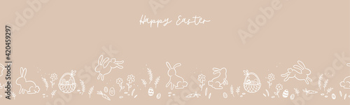 Obraz Lovely hand drawn horizontal Easter seamless pattern, cute bunnies, eggs ad flowers, great for spring textiles, banners, wallpapers, backgrounds - vector design - fototapety do salonu