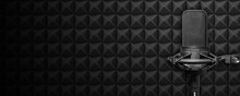Recording Studio Microphone With Acoustic Foam Background, Radio, Or Broadcasting Banner With Copy Space