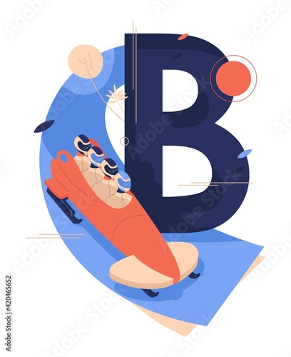 Leinwand Poster Letter B for bobsled or bobsleigh with team in sled riding down