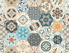 Talavera Pattern. Indian Patchwork, Turkish Ornament. Moroccan Mosaic. Ceramic Dishes, Folk Print. Spanish Pottery. Antique Moroccan, Portuguese Hexagonal Tiles. Mediterranean Seamless Vector.