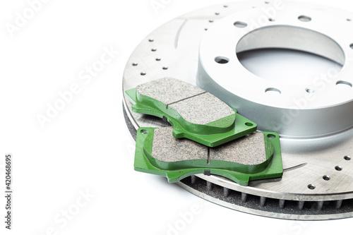 Slika na platnu Perforated brake discs, ceramic pads - everything for better braking