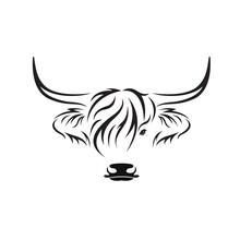 Vector Of Highland Cow Head Design On White Background. Farm Animal. Cows Logos Or Icons. Easy Editable Layered Vector Illustration..