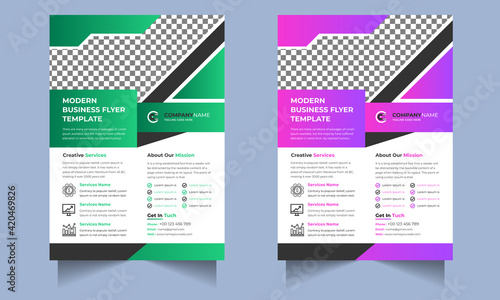 Obraz na płótnie Corporate Business flyer template vector design, Flyer Template Geometric shape used for business poster Graphic design layout, IT Company flyer with blue geometric shapes