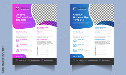 Fotografia Corporate Business flyer template vector design, Flyer Template Geometric shape used for business poster Graphic design layout, IT Company flyer with blue geometric shapes