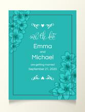 Apple Bloom Floral Wedding Invitation Elegant Card Template